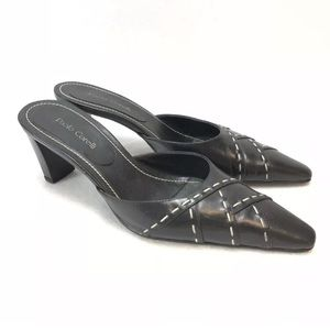 Linea Paolo Womens Mules Pointed Toe Black Leather